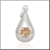 Tear Drop Charm with Bronze Paw - Sterling Silver Pet Memorial Jewelry