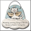 Cat in Heaven, Meowing and Purring, up in Heaven Ceramic Ornament for Cat Lover