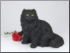 Longhair Black Cat Figurine Garden Urn