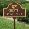 Pet Paw Mini Arch Memorial Marker - Lawn