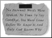 PERSONALIZED Garden Memorial Stone with Poem - 'No Farewell Words . . . . .'