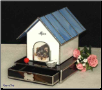 Stained Glass Doghouse Pet Urn with Drawer
