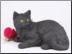 Black Shorthair Cat Figurine Garden Urn