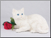 White Shorthair Cat Figurine Garden Urn