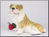 Bulldog, Brindle & White Dog Figurine Garden Pet  Urn