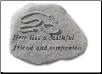 Garden Accent Rock - 'Here Lies a Faithful Friend & Companion'       Leash & Collar