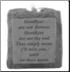 "Stone Memorial Candle - ""Goodbyes are not..."" - single light, short base"