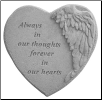 "Angel Winged Heart Memorial Stone - ""Always In Our Thoughts . . . . ."""