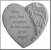 "Angel Winged Heart Memorial Stone - ""May You Find Comfort . . . . ."""