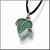 Pewter Leaf w/Green Enamel Keepsake Pendant