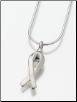 Sterling Silver, Gold Vermeil, 14K White or Yellow Gold Remembrance Ribbon Keepsake Pendant