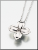 Sterling Silver, Gold Vermeil, 14K White or Yellow Gold Dogwood Blossom Keepsake Pendant