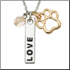Paw Necklace - Love Bar w/Pink Crystal Bead