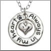Always in My Heart - Silver Tone, Pewter Hoop Necklace