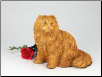 Longhair Orange Cat Figurine Garden Urn