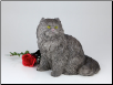 Longhair Grey Cat Figurine Garden Urn