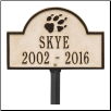 Dog Paw Arch Mini 2-Line Personalized Lawn Plaque
