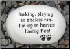 Barking, Playing an Endless Run Ceramic Garden Rock for Dog Lover