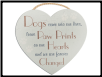 Paw Prints Heart Shaped Rope Sign