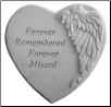 "Angel Winged Heart Memorial Stone - ""Forever Remembered . . . . . ."""