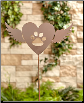 Winged Heart Dog Memorial Garden Stake
