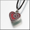Pewter Heart w/Red Enamel Spiral Keepsake Pendant Urn