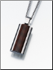 Flask Keepsake Necklace Urn w/ Wood Inlay