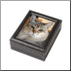 Paw Print Impression Kit in Clay with Leather Photo Frame Case