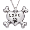 Love with Paw Print - Sterling Silver Necklace