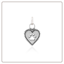 Roped into your Love Paw and Heart Charm - Sterling Silver Pet Memorial Jewelry