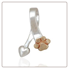 Bronze Paw and Heart Slide - Sterling Silver Dog Lover Jewelry