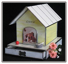 Stained Glass Dog House Urn with Drawer
