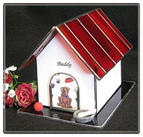Stained Glass Dog House Urn