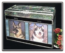 Stained Glass Companion Dog or Cat Urn with Beveled Top