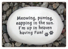 Meowing, Purring, Napping in the Sun Ceramic Garden Rock for Cat Lover