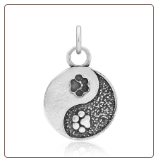 Yin & Yang Paw Charm - Sterling Silver Pet Memorial Jewelry