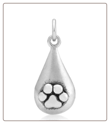 Tear Drop Charm with Bronze Paw Sterling Silver Pet Memorial Jewelry