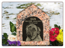Pet Memorial Granite Dog House Urn