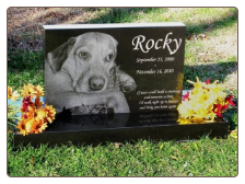 Premium Black Granite Etched Photo Pet Burial Marker or Pet Memorial