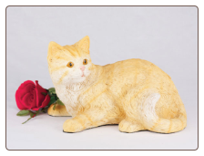 Orange Tabby Shorthair Cat Figurine Garden Urn