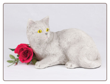 Light Gray Shorthair Cat Figurine Garden Urn