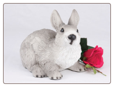 Gray & White Rabbit Figurine Garden Urn