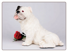 Bulldog, White Dog Figurine Garden Pet  Urn