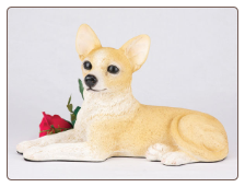 Chihuahua, Shorthair, Fawn & White Dog Figurine Garden Pet Urn