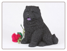 Chow, Black Dog Figurine Garden Pet  Urn