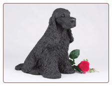 Cocker Spaniel - Black Dog Figurine Garden Pet  Urn