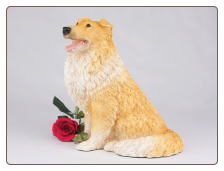 Collie - Orange & White Dog Figurine Garden Pet  Urn
