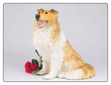 Collie - Tri-Color Dog Figurine Garden Pet  Urn