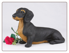 Dachshund - Shorthair, Black & Tan Dog Figurine Garden Pet  Urn