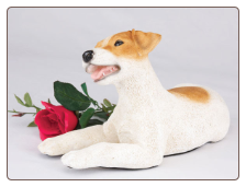 Jack Russell, Brown & White Dog Figurine Garden Pet  Urn